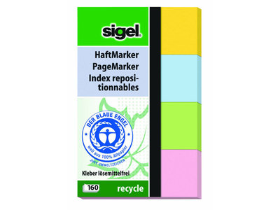 Indexeringsstrookjes Sigel recycled 50x80 mm